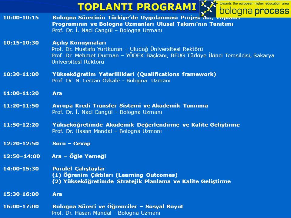 BOLOGNA SÜRECİ'NİN TÜRKİYE'DE UYGULANMASI : BOLOGNA UZMANLARI ULUSAL TAKIMI PROJESİ 07 Aralık 2007, Uludağ Üniversitesi, BURSA TOPLANTI PROGRAMI 10:00-10:15 Bologna Sürecinin Türkiye'de Uygulanması Projesi'nin, Toplantı Programının ve Bologna Uzmanları Ulusal Takımı'nın Tanıtımı Prof.