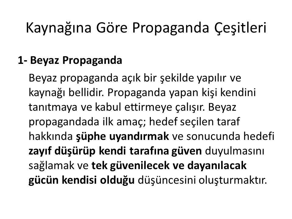 Kaynağına Göre Propaganda Çeşitleri 1- Beyaz Propaganda Beyaz propaganda açık bir şekilde yapılır ve kaynağı bellidir. Propaganda yapan kişi kendini t