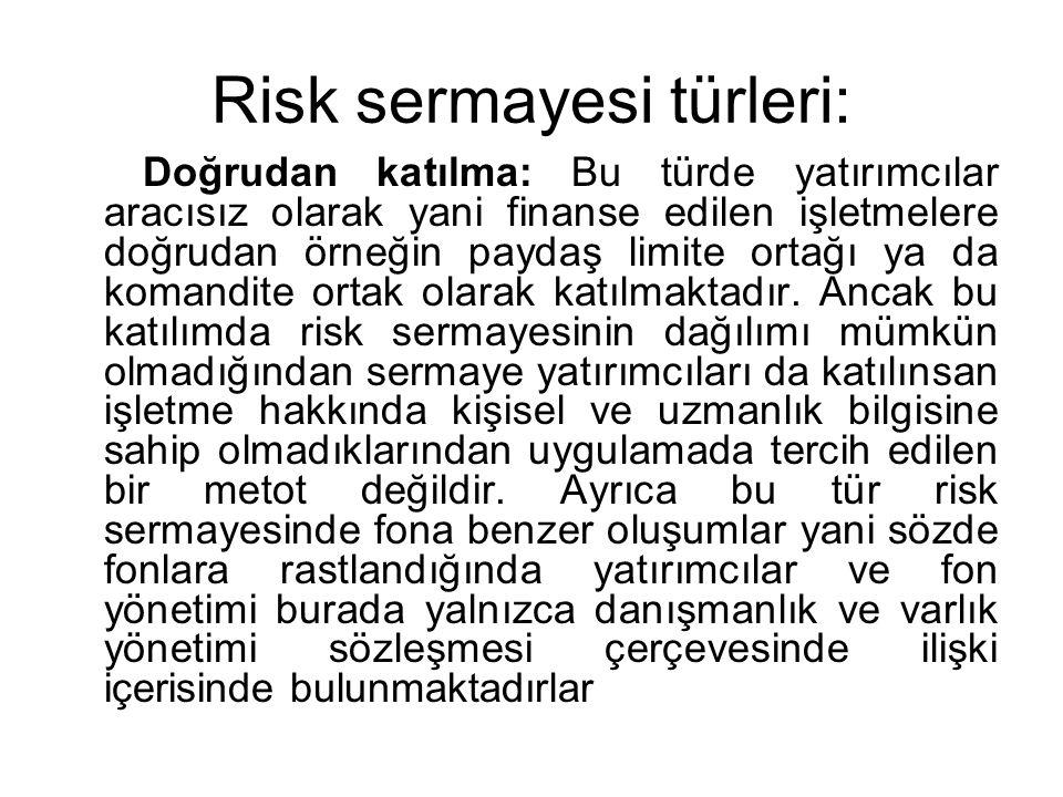 Risk sermayesi türleri: Doğrudan katılma: Bu türde yatırımcılar aracısız olarak yani finanse edilen işletmelere doğrudan örneğin paydaş limite ortağı