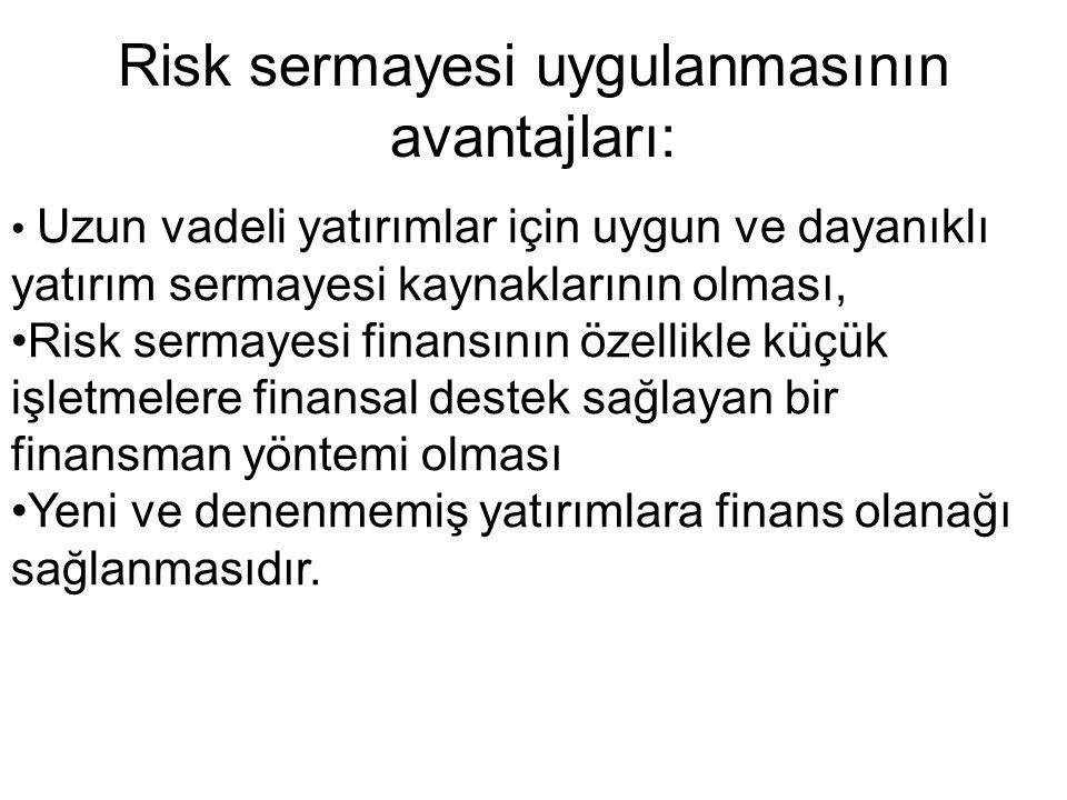Risk sermayesi uygulanmasının avantajları: Uzun vadeli yatırımlar için uygun ve dayanıklı yatırım sermayesi kaynaklarının olması, Risk sermayesi finan