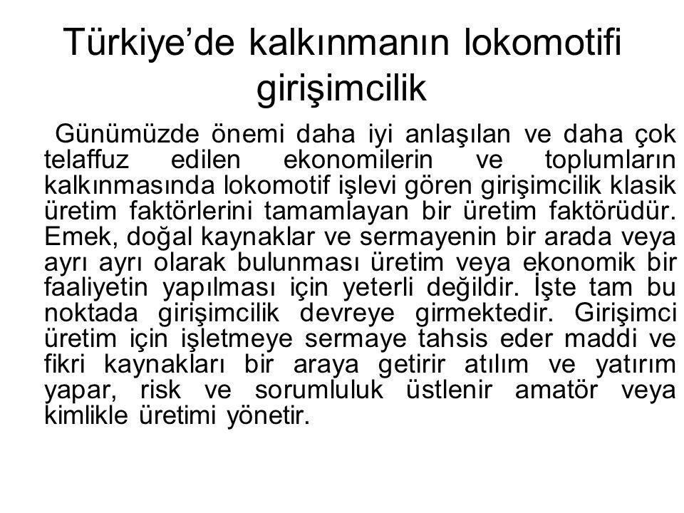 Türkiye'de kalkınmanın lokomotifi girişimcilik Günümüzde önemi daha iyi anlaşılan ve daha çok telaffuz edilen ekonomilerin ve toplumların kalkınmasınd