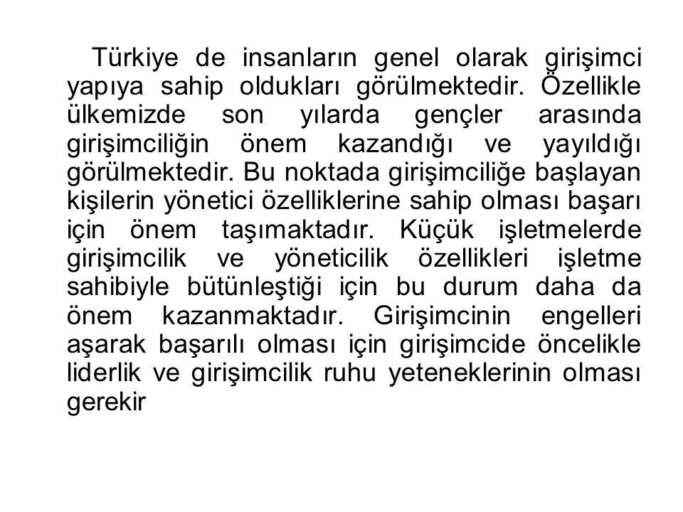 Türkiye de insanların genel olarak girişimci yapıya sahip oldukları görülmektedir. Özellikle ülkemizde son yılarda gençler arasında girişimciliğin öne