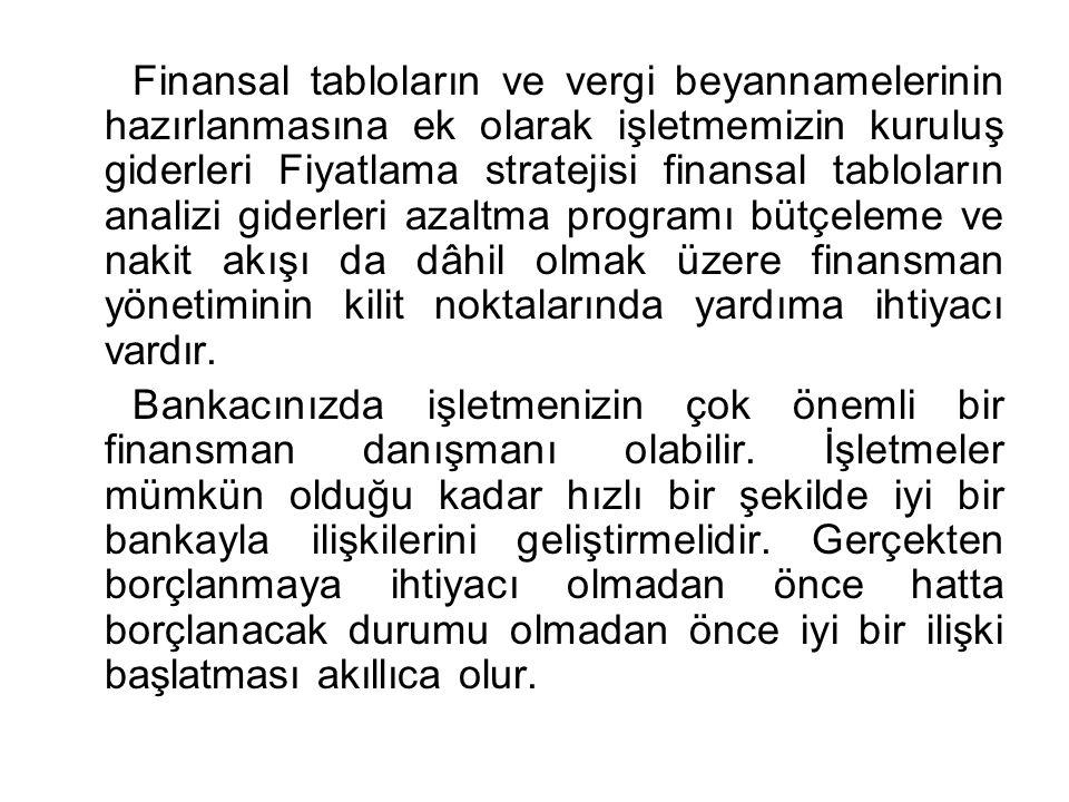 Finansal tabloların ve vergi beyannamelerinin hazırlanmasına ek olarak işletmemizin kuruluş giderleri Fiyatlama stratejisi finansal tabloların analizi