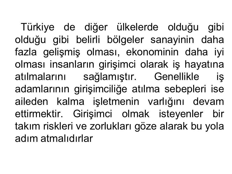 Türkiye de diğer ülkelerde olduğu gibi olduğu gibi belirli bölgeler sanayinin daha fazla gelişmiş olması, ekonominin daha iyi olması insanların girişi