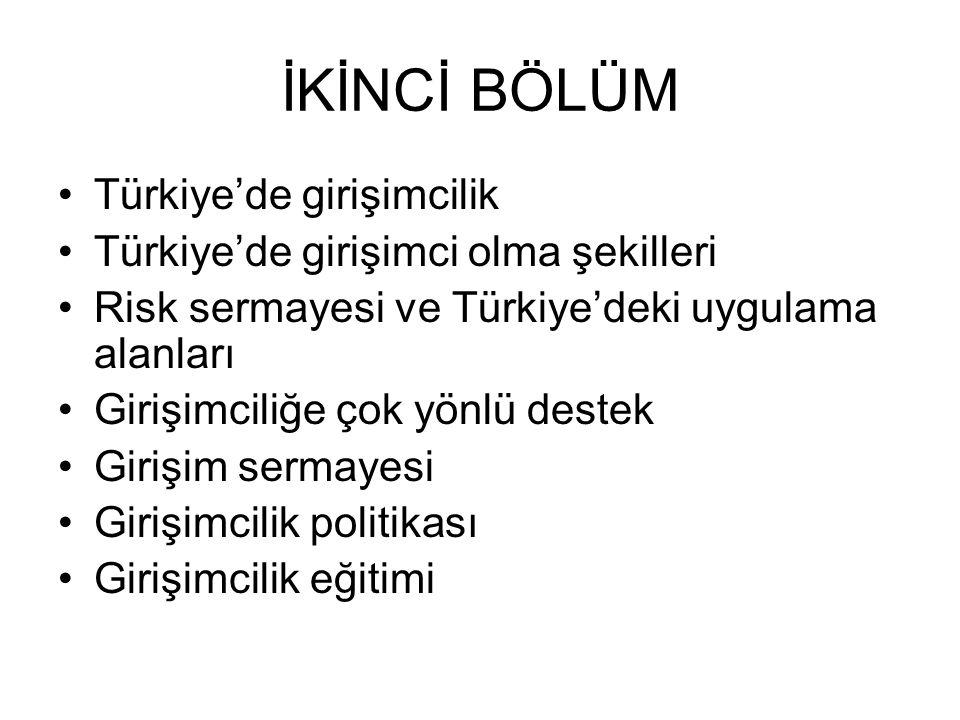 İKİNCİ BÖLÜM Türkiye'de girişimcilik Türkiye'de girişimci olma şekilleri Risk sermayesi ve Türkiye'deki uygulama alanları Girişimciliğe çok yönlü dest