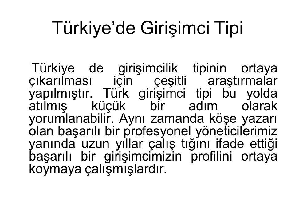 Türkiye'de Girişimci Tipi Türkiye de girişimcilik tipinin ortaya çıkarılması için çeşitli araştırmalar yapılmıştır. Türk girişimci tipi bu yolda atılm