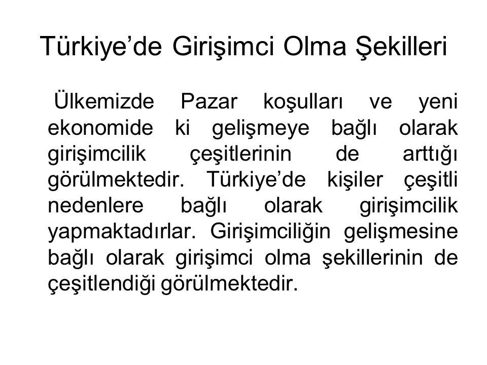 Türkiye'de Girişimci Olma Şekilleri Ülkemizde Pazar koşulları ve yeni ekonomide ki gelişmeye bağlı olarak girişimcilik çeşitlerinin de arttığı görülme