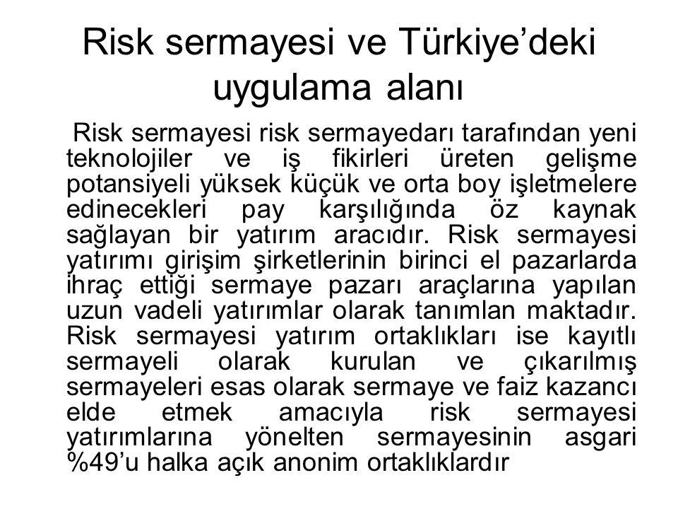 Risk sermayesi ve Türkiye'deki uygulama alanı Risk sermayesi risk sermayedarı tarafından yeni teknolojiler ve iş fikirleri üreten gelişme potansiyeli
