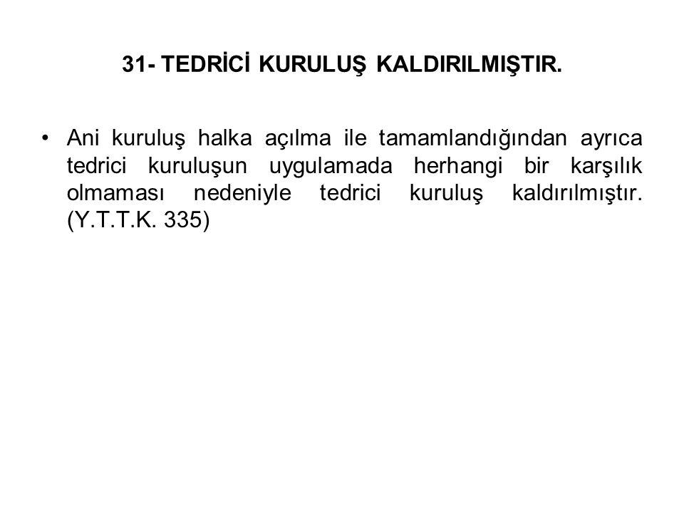 31- TEDRİCİ KURULUŞ KALDIRILMIŞTIR.