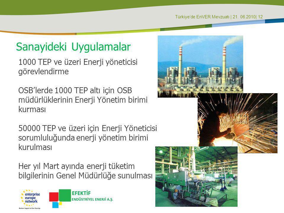 Türkiye'de EnVER Mevzuatı | 21. 06.2010| 12 Sanayideki Uygulamalar 1000 TEP ve üzeri Enerji yöneticisi görevlendirme OSB'lerde 1000 TEP altı için OSB