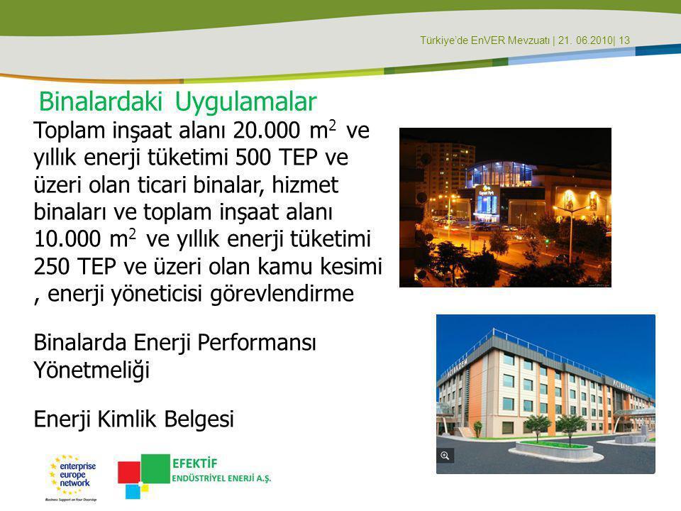 Türkiye'de EnVER Mevzuatı | 21. 06.2010| 13 Binalardaki Uygulamalar Toplam inşaat alanı 20.000 m 2 ve yıllık enerji tüketimi 500 TEP ve üzeri olan tic