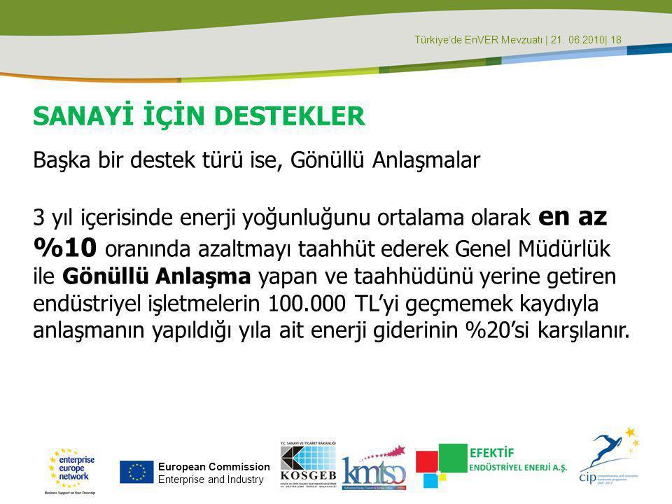 Türkiye'de EnVER Mevzuatı | 21. 06.2010| 18 SANAYİ İÇİN DESTEKLER Başka bir destek türü ise, Gönüllü Anlaşmalar 3 yıl içerisinde enerji yoğunluğunu or