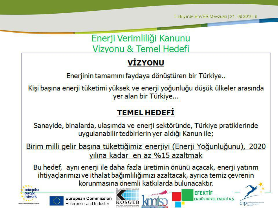 Türkiye'de EnVER Mevzuatı | 21. 06.2010| 6 European Commission Enterprise and Industry