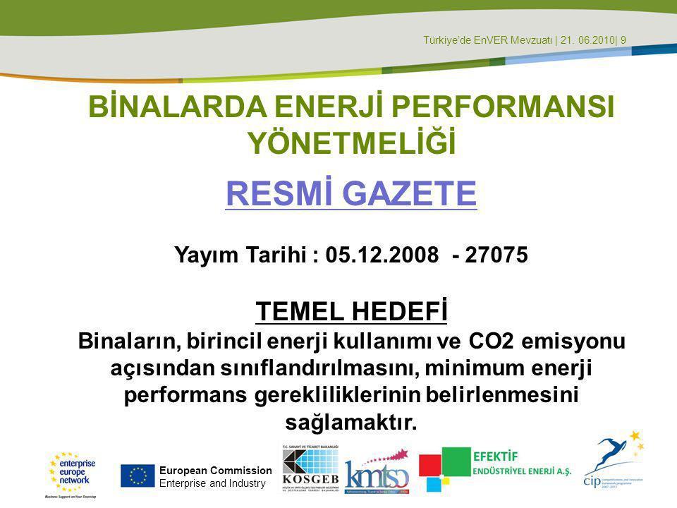 Türkiye'de EnVER Mevzuatı | 21. 06.2010| 10 European Commission Enterprise and Industry