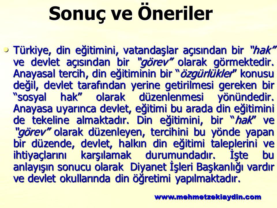 """Türkiye, din eğitimini, vatandaşlar açısından bir """"hak"""" ve devlet açısından bir """"görev"""" olarak görmektedir. Anayasal tercih, din eğitiminin bir """"özgür"""