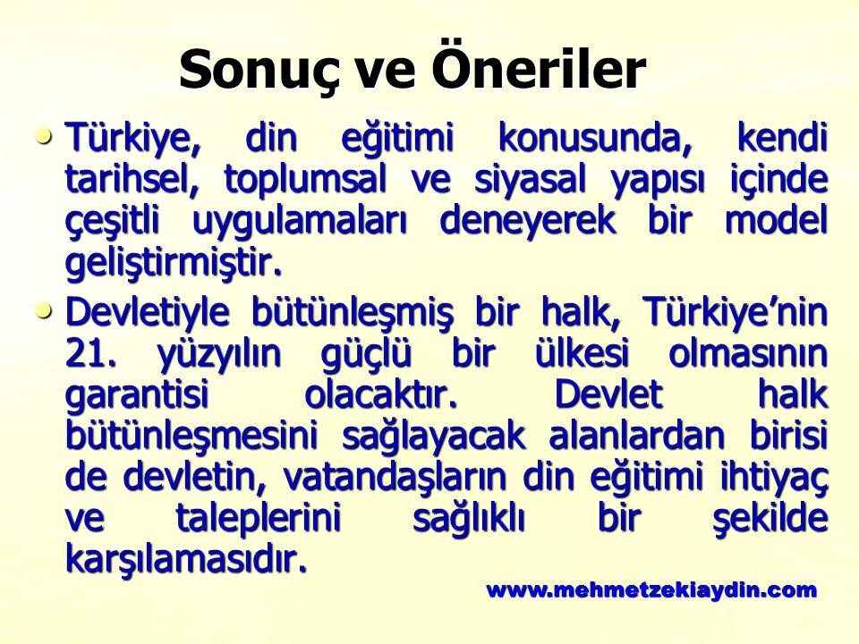 Türkiye, din eğitimi konusunda, kendi tarihsel, toplumsal ve siyasal yapısı içinde çeşitli uygulamaları deneyerek bir model geliştirmiştir. Türkiye, d