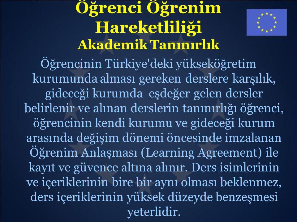 Öğrenci Öğrenim Hareketliliği Akademik Tanınırlık Öğrencinin Türkiye'deki yükseköğretim kurumunda alması gereken derslere karşılık, gideceği kurumda e