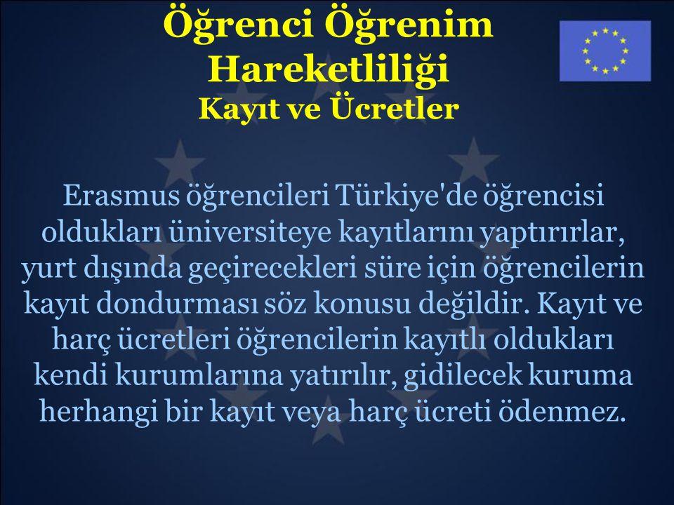 Öğrenci Öğrenim Hareketliliği Kayıt ve Ücretler Erasmus öğrencileri Türkiye'de öğrencisi oldukları üniversiteye kayıtlarını yaptırırlar, yurt dışında