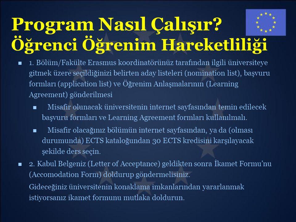 Program Nasıl Çalışır? Öğrenci Öğrenim Hareketliliği 1. Bölüm/Fakülte Erasmus koordinatörünüz tarafından ilgili üniversiteye gitmek üzere seçildiğiniz
