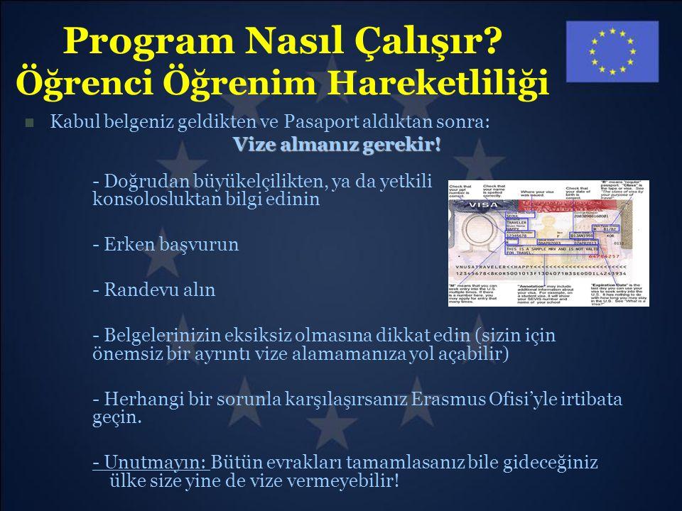 Program Nasıl Çalışır? Öğrenci Öğrenim Hareketliliği Kabul belgeniz geldikten ve Pasaport aldıktan sonra: Vize almanız gerekir! - Doğrudan büyükelçili