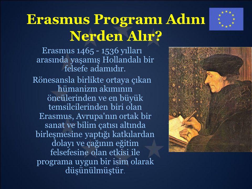 Erasmus Programı Adını Nerden Alır? Erasmus 1465 - 1536 yılları arasında yaşamış Hollandalı bir felsefe adamıdır. Rönesansla birlikte ortaya çıkan hüm