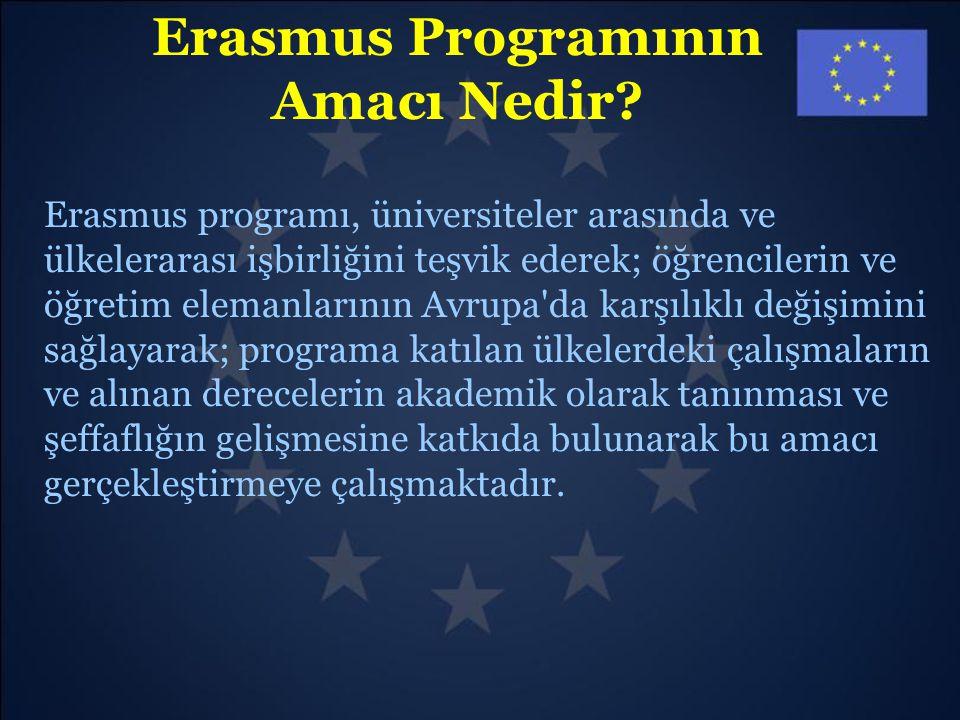 Erasmus Programının Amacı Nedir? Erasmus programı, üniversiteler arasında ve ülkelerarası işbirliğini teşvik ederek; öğrencilerin ve öğretim elemanlar