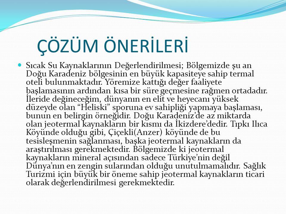 ÇÖZÜM ÖNERİLERİ Sıcak Su Kaynaklarının Değerlendirilmesi; Bölgemizde şu an Doğu Karadeniz bölgesinin en büyük kapasiteye sahip termal oteli bulunmakta