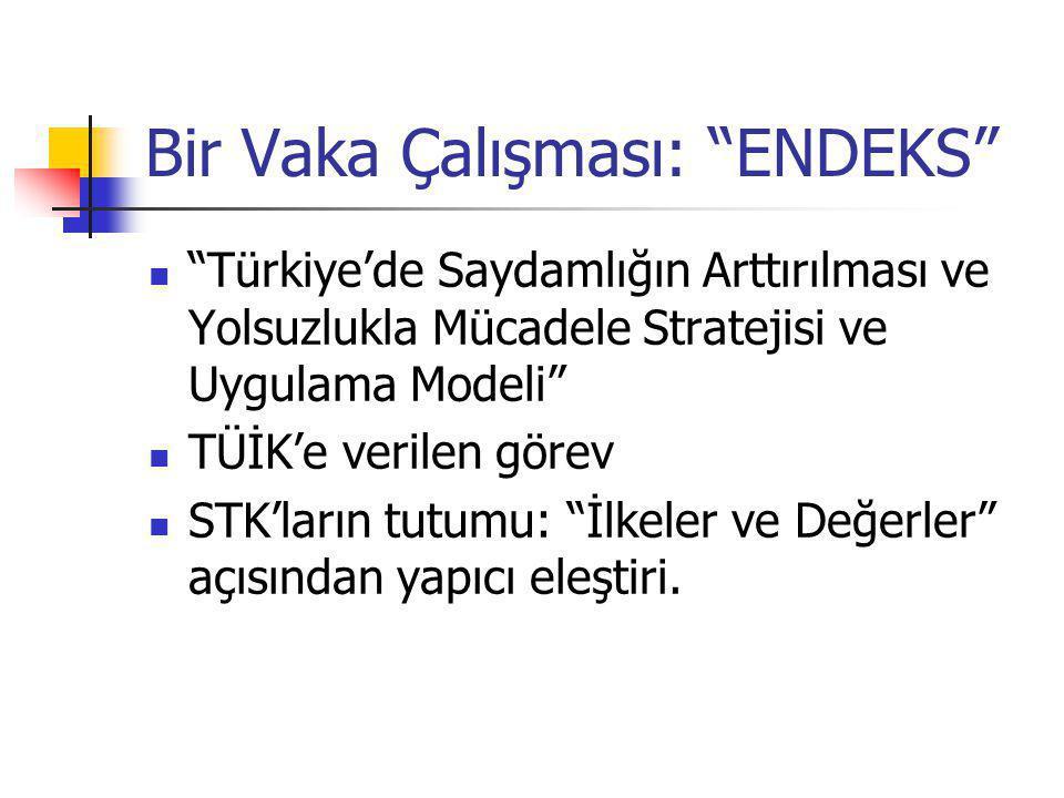 Bir Vaka Çalışması: ENDEKS Türkiye'de Saydamlığın Arttırılması ve Yolsuzlukla Mücadele Stratejisi ve Uygulama Modeli TÜİK'e verilen görev STK'ların tutumu: İlkeler ve Değerler açısından yapıcı eleştiri.