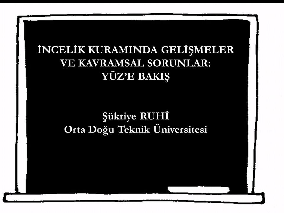 İNCELİK KURAMINDA GELİŞMELER VE KAVRAMSAL SORUNLAR: YÜZ'E BAKIŞ Şükriye RUHİ Orta Doğu Teknik Üniversitesi