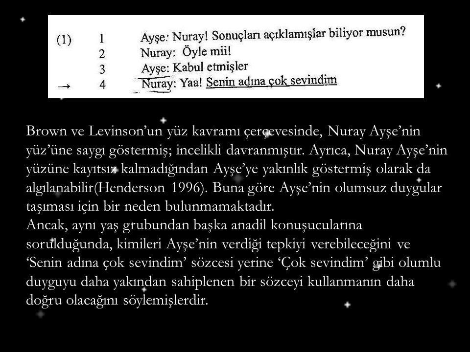 Brown ve Levinson'un yüz kavramı çerçevesinde, Nuray Ayşe'nin yüz'üne saygı göstermiş; incelikli davranmıştır. Ayrıca, Nuray Ayşe'nin yüzüne kayıtsız