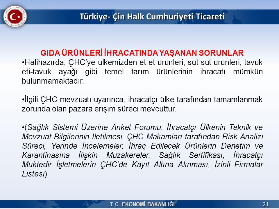 Türkiye- Çin Halk Cumhuriyeti Ticareti T. C. EKONOMİ BAKANLIĞI 21 GIDA ÜRÜNLERİ İHRACATINDA YAŞANAN SORUNLAR Halihazırda, ÇHC'ye ülkemizden et-et ürün
