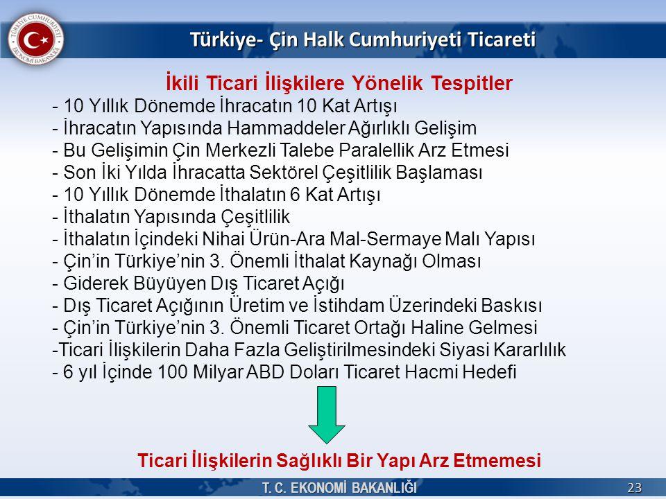 Türkiye- Çin Halk Cumhuriyeti Ticareti T. C. EKONOMİ BAKANLIĞI 23 İkili Ticari İlişkilere Yönelik Tespitler - 10 Yıllık Dönemde İhracatın 10 Kat Artış