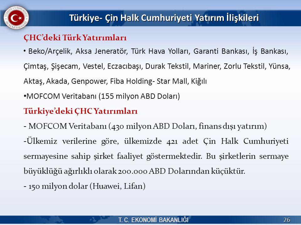 Türkiye- Çin Halk Cumhuriyeti Yatırım İlişkileri T. C. EKONOMİ BAKANLIĞI 26 ÇHC'deki Türk Yatırımları Beko/Arçelik, Aksa Jeneratör, Türk Hava Yolları,