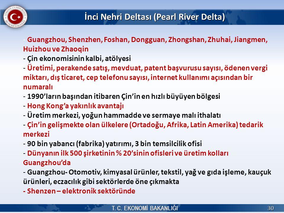 İnci Nehri Deltası (Pearl River Delta) T. C. EKONOMİ BAKANLIĞI 30 - Guangzhou, Shenzhen, Foshan, Dongguan, Zhongshan, Zhuhai, Jiangmen, Huizhou ve Zha