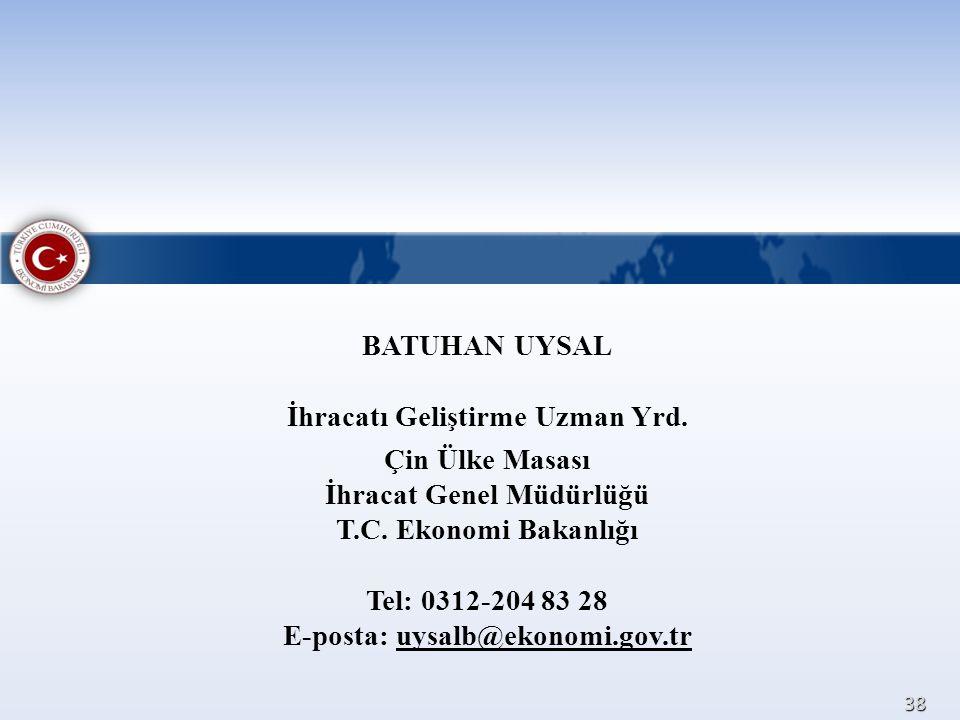 BATUHAN UYSAL İhracatı Geliştirme Uzman Yrd. Çin Ülke Masası İhracat Genel Müdürlüğü T.C. Ekonomi Bakanlığı Tel: 0312-204 83 28 E-posta: uysalb@ekonom