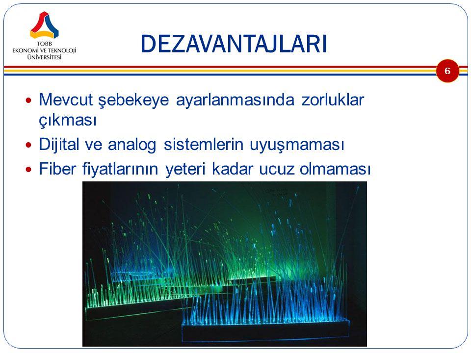 FİBERİN KULLANIM ALANLARI Kapalı devre televizyon sistemlerinde Veri (data) iletiminde Elektronik aygıtların birbirleriyle bağlantısında Havacılık alanında (radar), yüksek hız gerektiren aygıtlar arası ve uçak iç donanımlarında Demiryolu uygulamalarında Trafik kontrol sistemlerinde Reklam panolarında Tıp alanında kullanılan aygıtlarda Nükleer enerji santrallerin ve radyoaktif ışınların iletişimi bozduğu yerlerde… 7