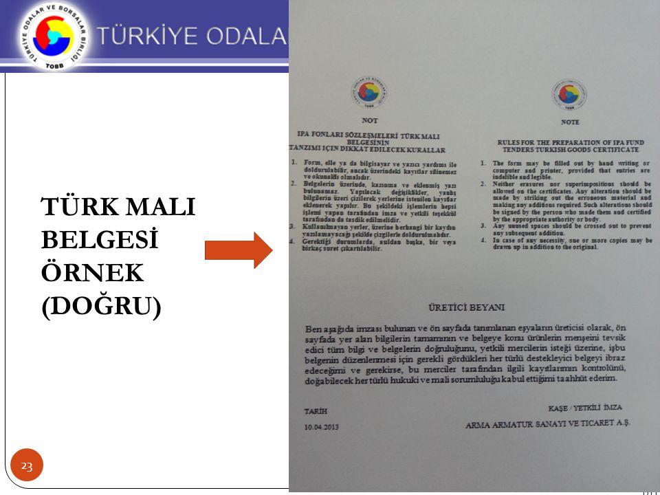 TÜRK MALI BELGESİ ÖRNEK (DOĞRU) 23 BTT