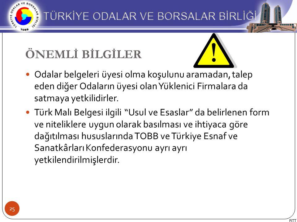 Odalar belgeleri üyesi olma koşulunu aramadan, talep eden diğer Odaların üyesi olan Yüklenici Firmalara da satmaya yetkilidirler. Türk Malı Belgesi il