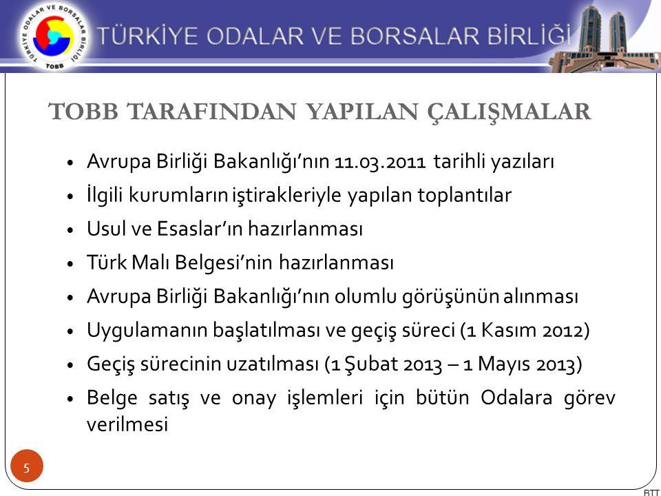Avrupa Birliği Bakanlığı'nın 11.03.2011 tarihli yazıları İlgili kurumların iştirakleriyle yapılan toplantılar Usul ve Esaslar'ın hazırlanması Türk Mal