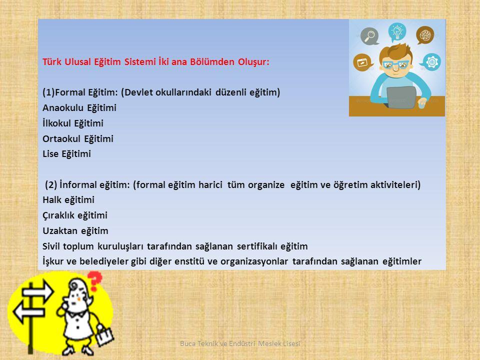 Türk Ulusal Eğitim Sistemi İki ana Bölümden Oluşur: (1)Formal Eğitim: (Devlet okullarındaki düzenli eğitim) Anaokulu Eğitimi İlkokul Eğitimi Ortaokul