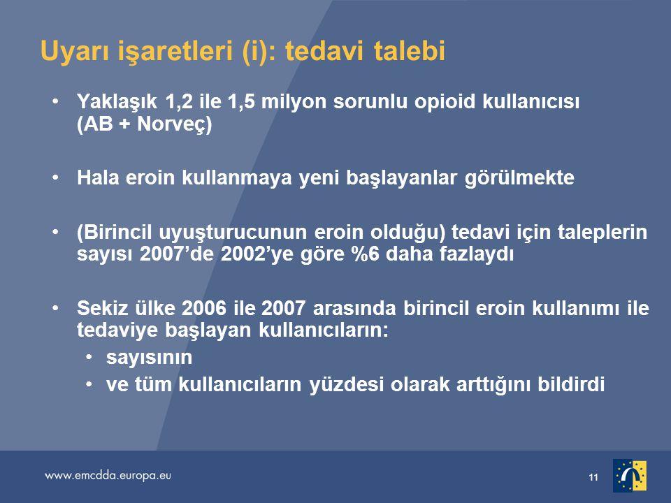11 Uyarı işaretleri (i): tedavi talebi Yaklaşık 1,2 ile 1,5 milyon sorunlu opioid kullanıcısı (AB + Norveç) Hala eroin kullanmaya yeni başlayanlar görülmekte (Birincil uyuşturucunun eroin olduğu) tedavi için taleplerin sayısı 2007'de 2002'ye göre %6 daha fazlaydı Sekiz ülke 2006 ile 2007 arasında birincil eroin kullanımı ile tedaviye başlayan kullanıcıların: sayısının ve tüm kullanıcıların yüzdesi olarak arttığını bildirdi