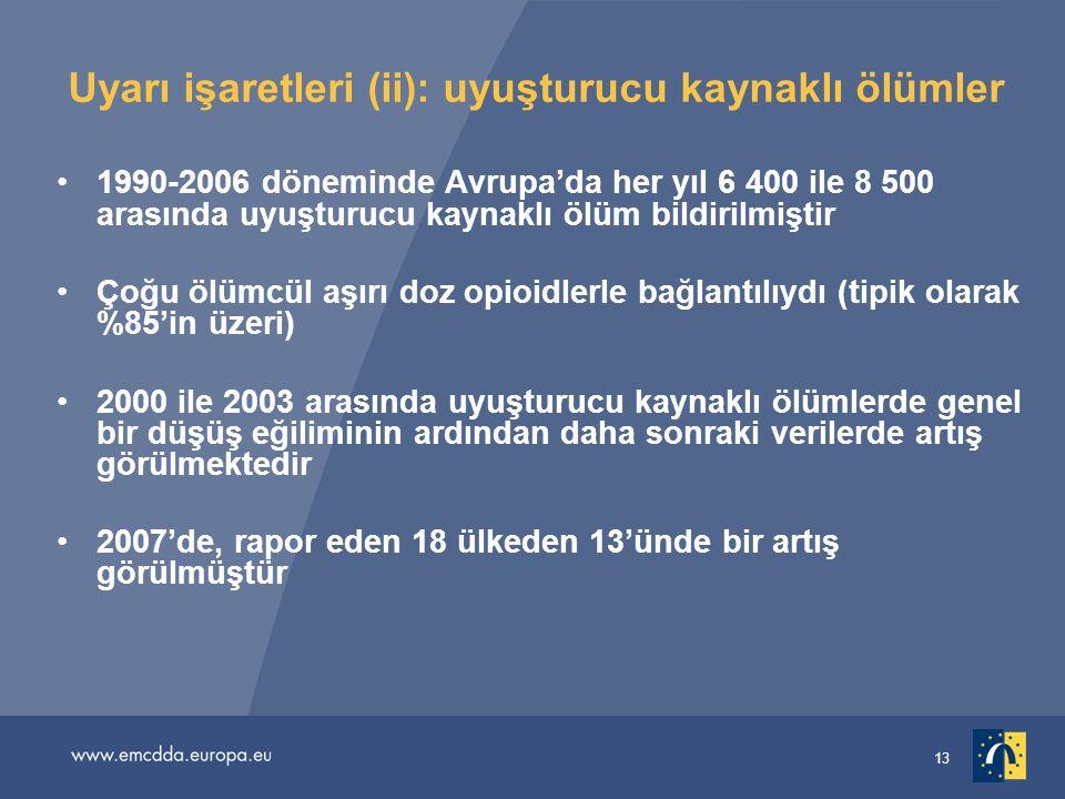 13 Uyarı işaretleri (ii): uyuşturucu kaynaklı ölümler 1990-2006 döneminde Avrupa'da her yıl 6 400 ile 8 500 arasında uyuşturucu kaynaklı ölüm bildirilmiştir Çoğu ölümcül aşırı doz opioidlerle bağlantılıydı (tipik olarak %85'in üzeri) 2000 ile 2003 arasında uyuşturucu kaynaklı ölümlerde genel bir düşüş eğiliminin ardından daha sonraki verilerde artış görülmektedir 2007'de, rapor eden 18 ülkeden 13'ünde bir artış görülmüştür
