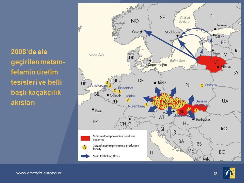 33 2008'de ele geçirilen metam- fetamin üretim tesisleri ve belli başlı kaçakçılık akışları