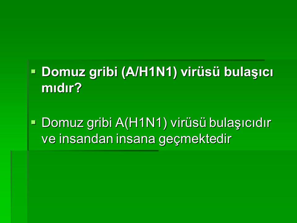  Domuz gribi (A/H1N1) virüsü bulaşıcı mıdır.