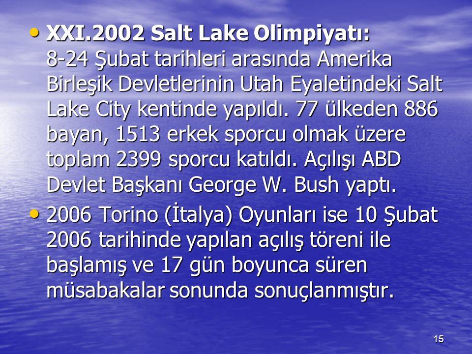15 XXI.2002 Salt Lake Olimpiyatı: 8-24 Şubat tarihleri arasında Amerika Birleşik Devletlerinin Utah Eyaletindeki Salt Lake City kentinde yapıldı. 77 ü