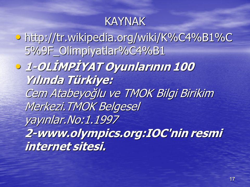 17 KAYNAK http://tr.wikipedia.org/wiki/K%C4%B1%C 5%9F_Olimpiyatlar%C4%B1 http://tr.wikipedia.org/wiki/K%C4%B1%C 5%9F_Olimpiyatlar%C4%B1 1-OLİMPİYAT Oy
