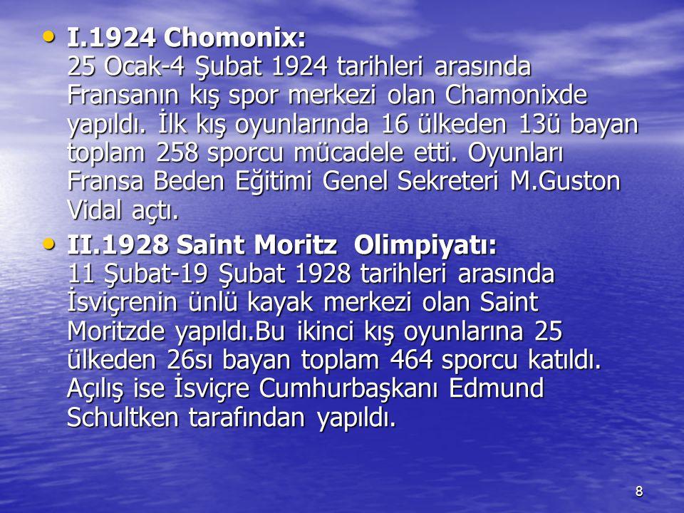8 I.1924 Chomonix: 25 Ocak-4 Şubat 1924 tarihleri arasında Fransanın kış spor merkezi olan Chamonixde yapıldı. İlk kış oyunlarında 16 ülkeden 13ü baya