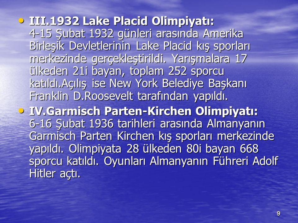 10 V.1940 Kış Olimpiyatı: Bu olimpiyat İkinci Dünya Savaşı nedeniyle yapılamadı.