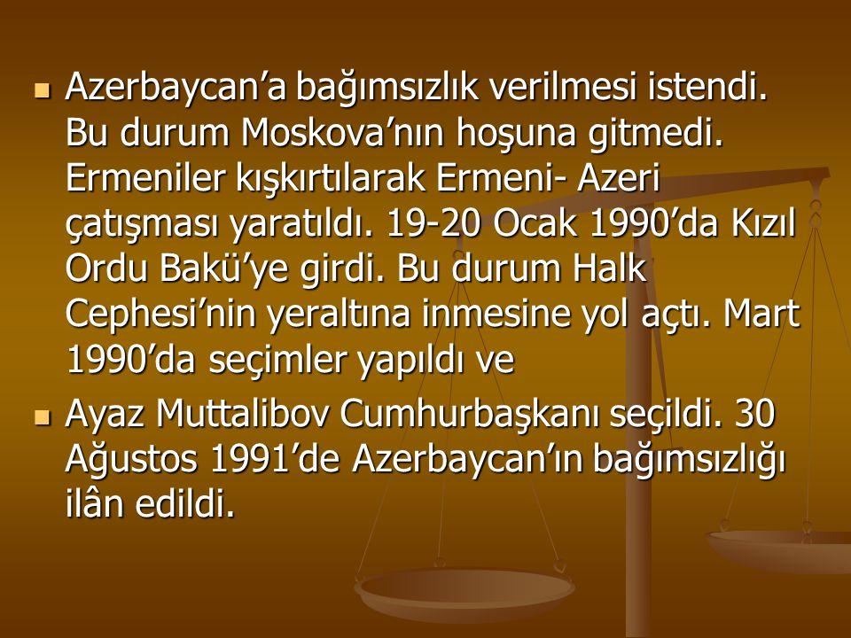 Azerbaycan'a bağımsızlık verilmesi istendi. Bu durum Moskova'nın hoşuna gitmedi. Ermeniler kışkırtılarak Ermeni- Azeri çatışması yaratıldı. 19-20 Ocak
