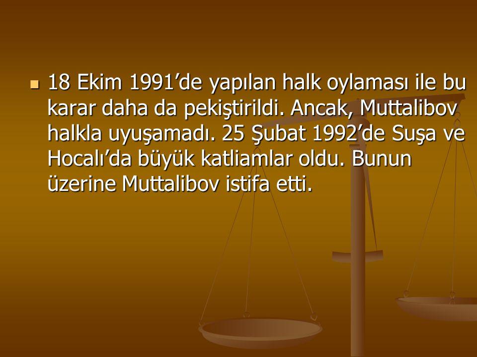 18 Ekim 1991'de yapılan halk oylaması ile bu karar daha da pekiştirildi. Ancak, Muttalibov halkla uyuşamadı. 25 Şubat 1992'de Suşa ve Hocalı'da büyük